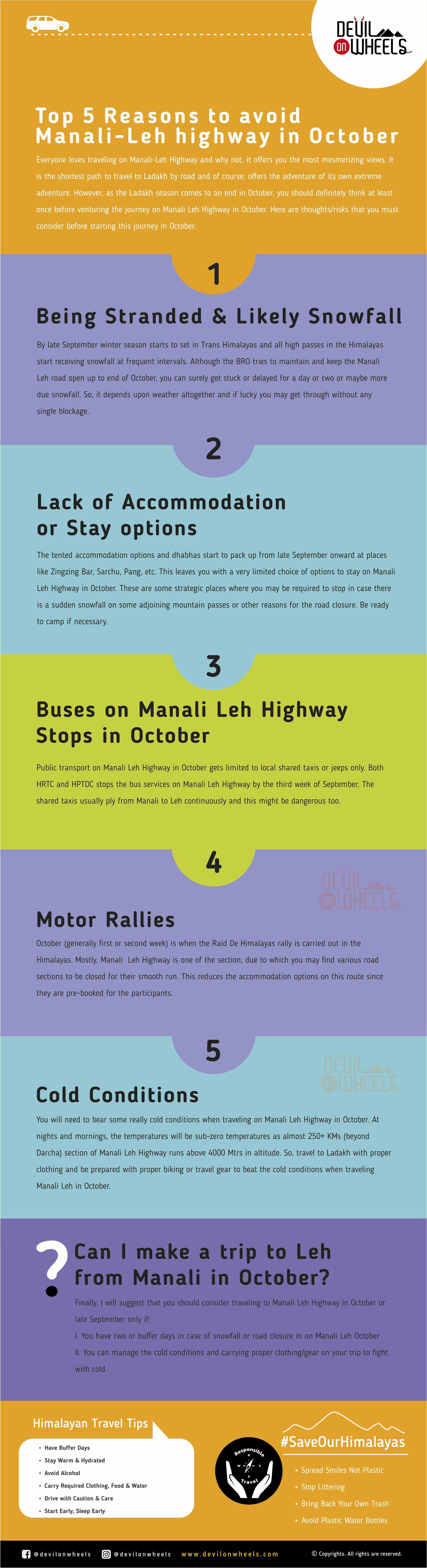 Reasons to avoid Manali Leh Highway in October