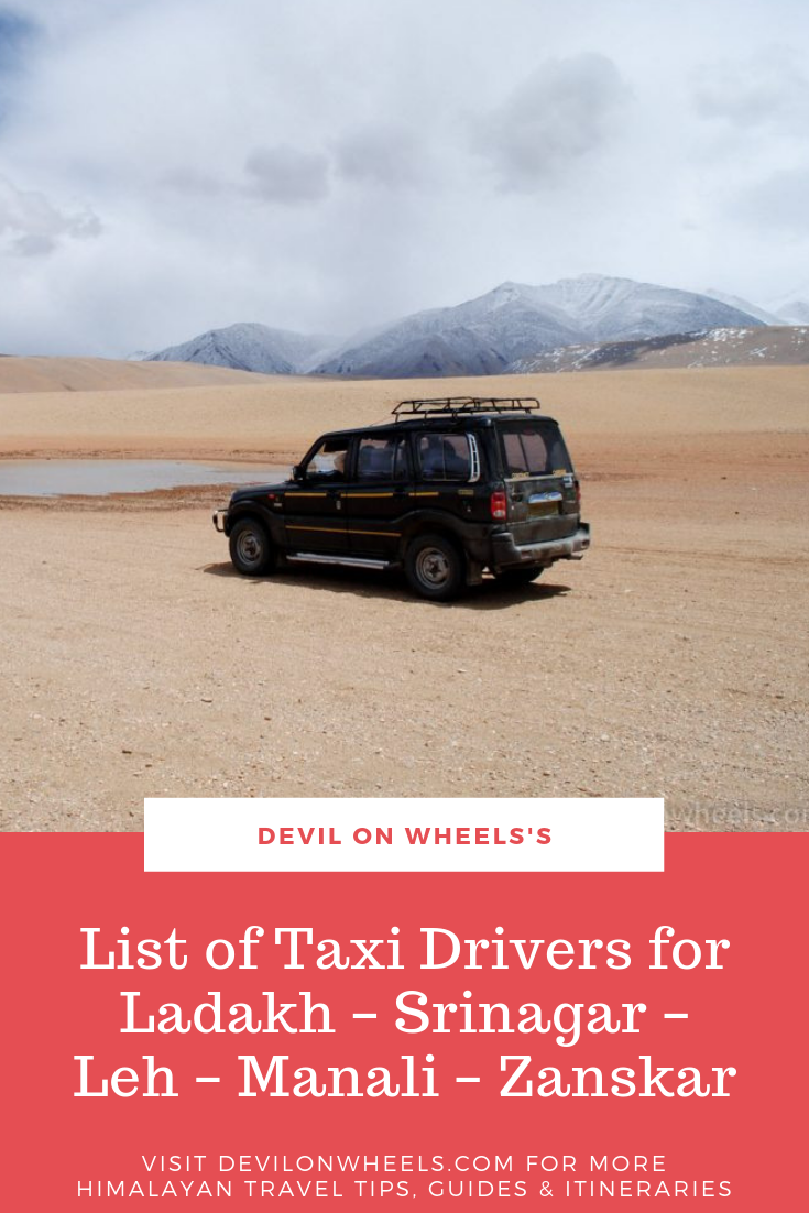 List of Taxi Drivers for Ladakh - Srinagar - Leh - Manali - Zanskar
