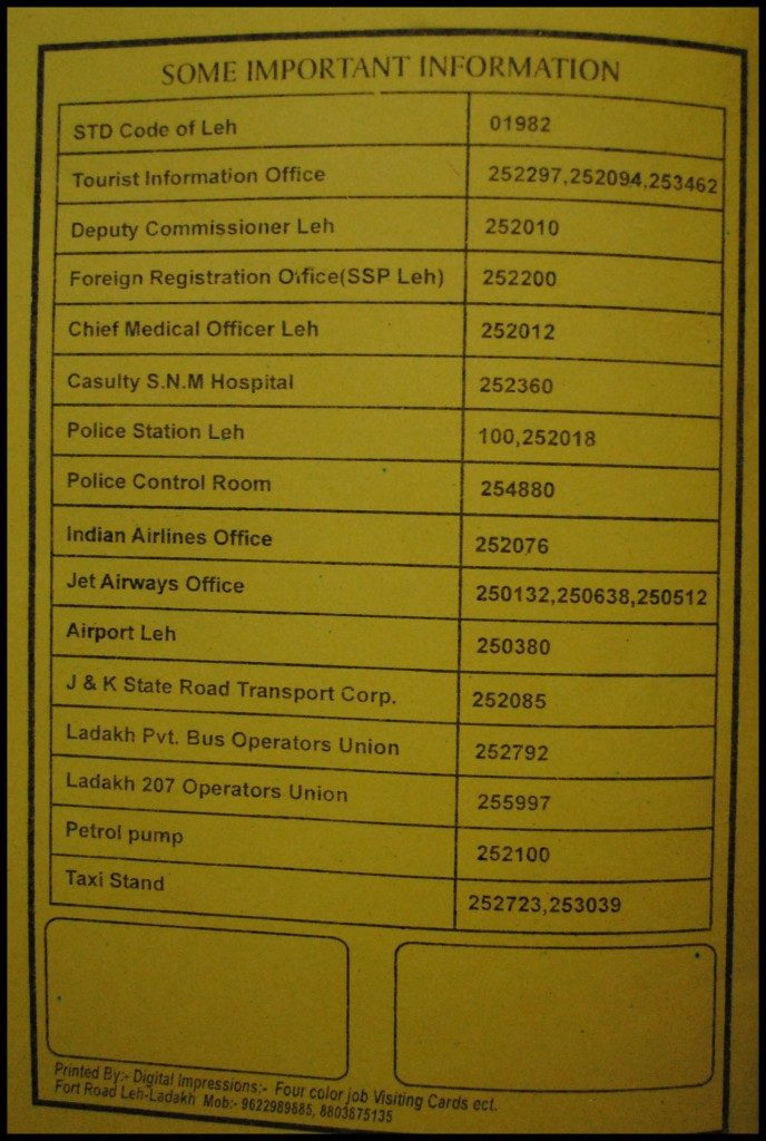 Important / Emergency Contact Numbers in Leh – Ladakh