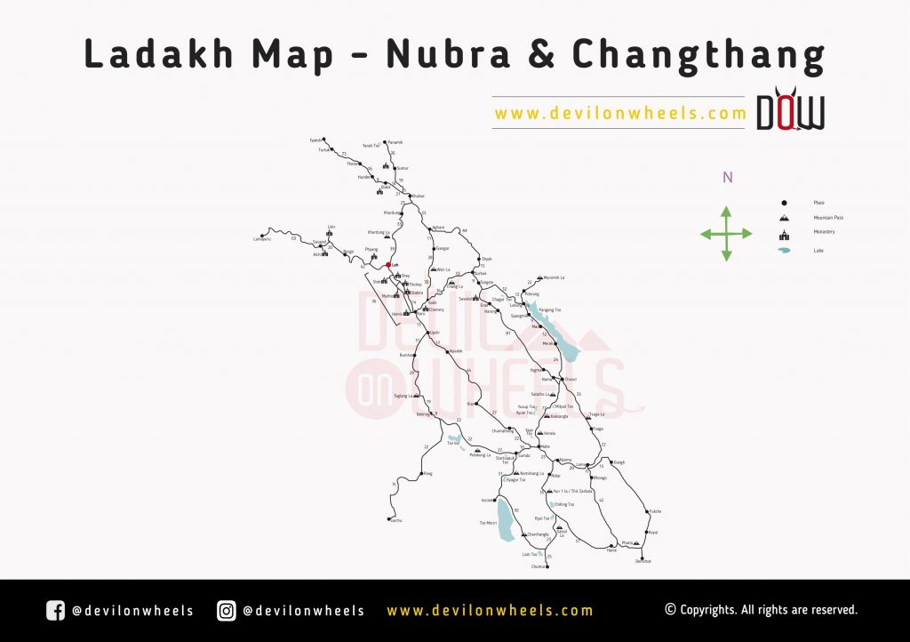 Leh Ladakh Maps | Nubra Valley and Changthang