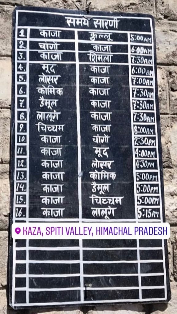 Spiti Valley from Manali - HRTC Bus Timetable