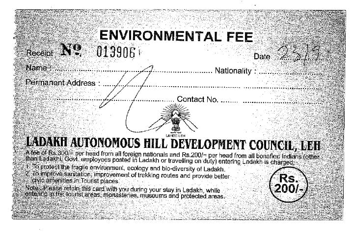 Ladakh Inner Line Permit - Environment Fees