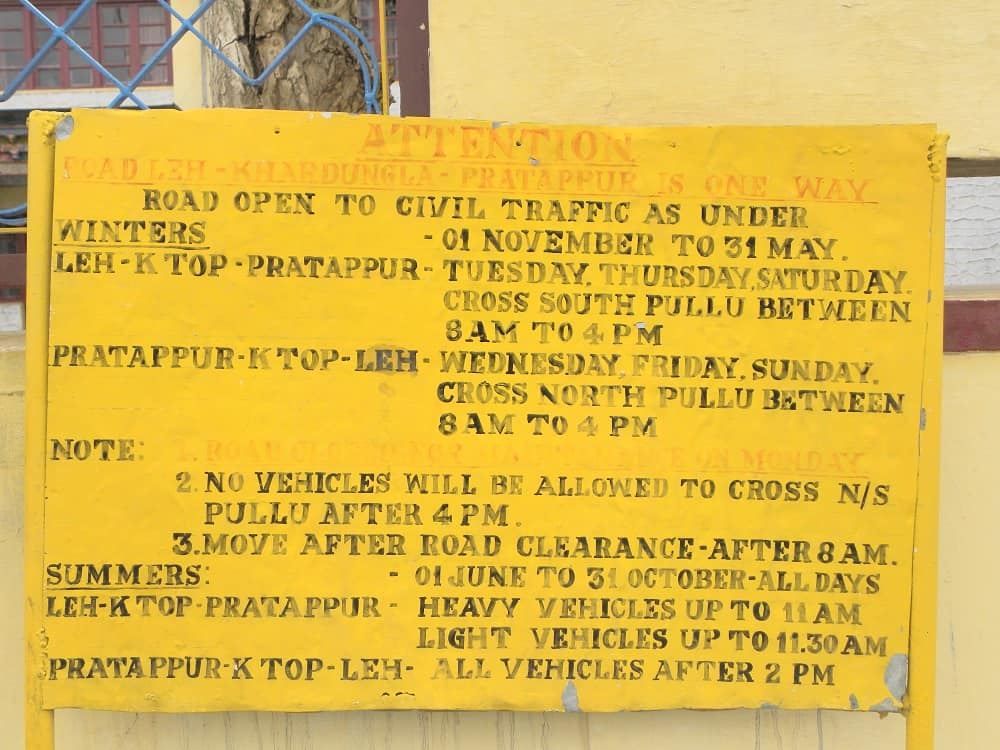 Khardung La Pass Timings