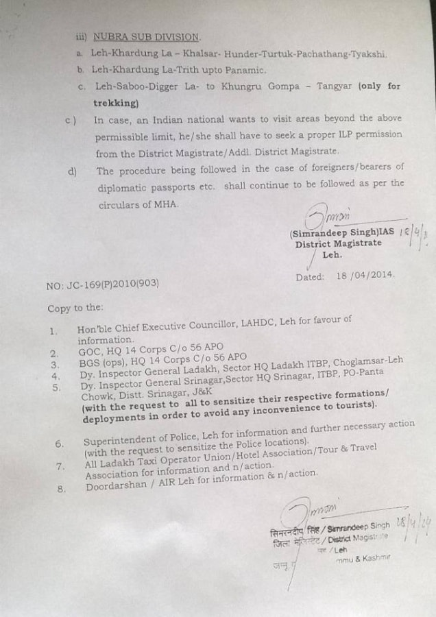 Circular for Permits in Ladakh not Required for Indian Tourists from May 2014