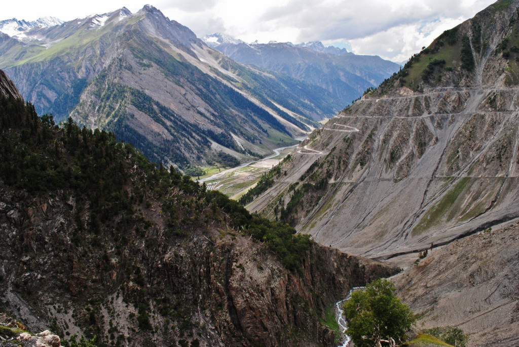 The hairpin bends of Zojila Pass from Srinagar to Kargil