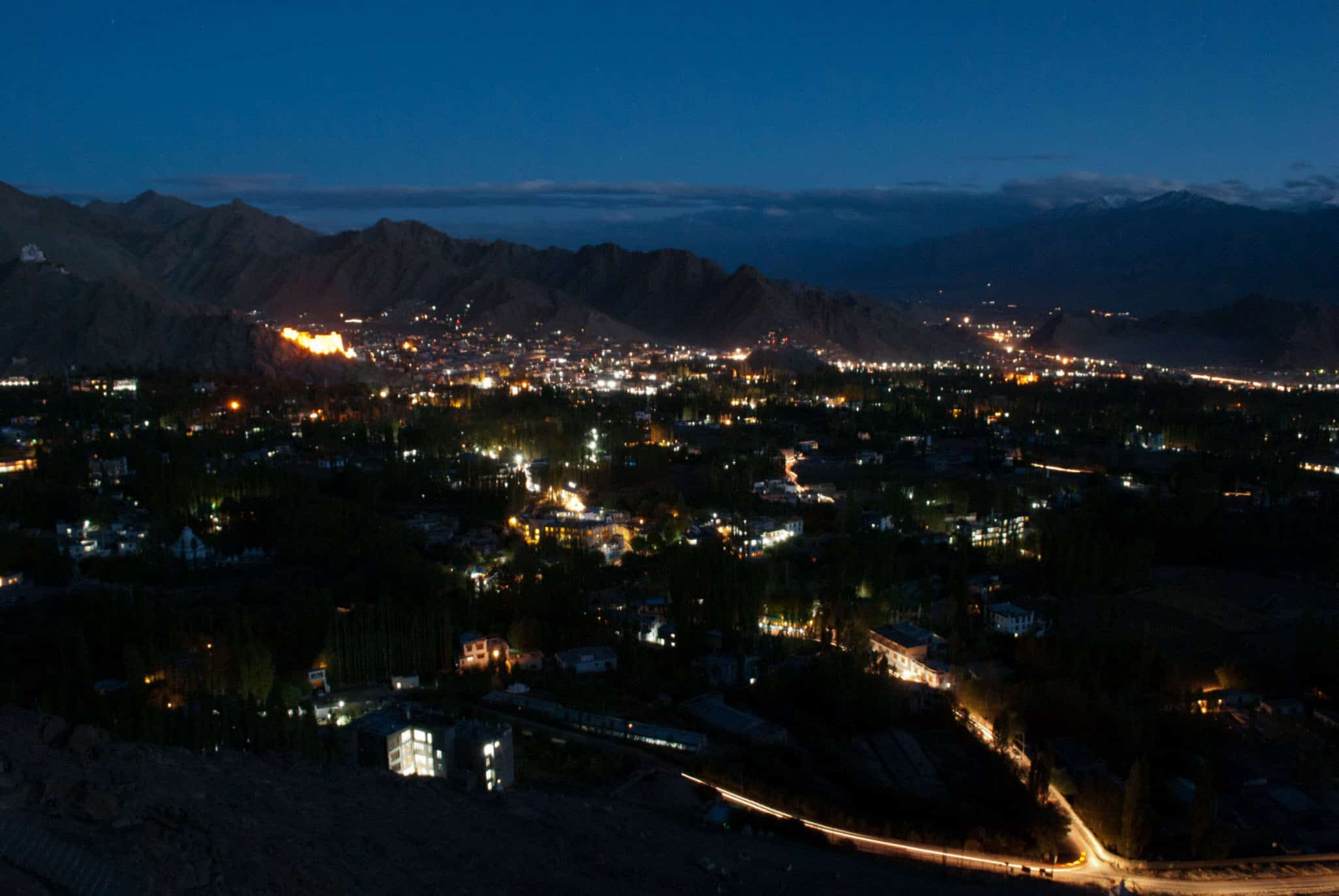 That aerial view of Leh at night