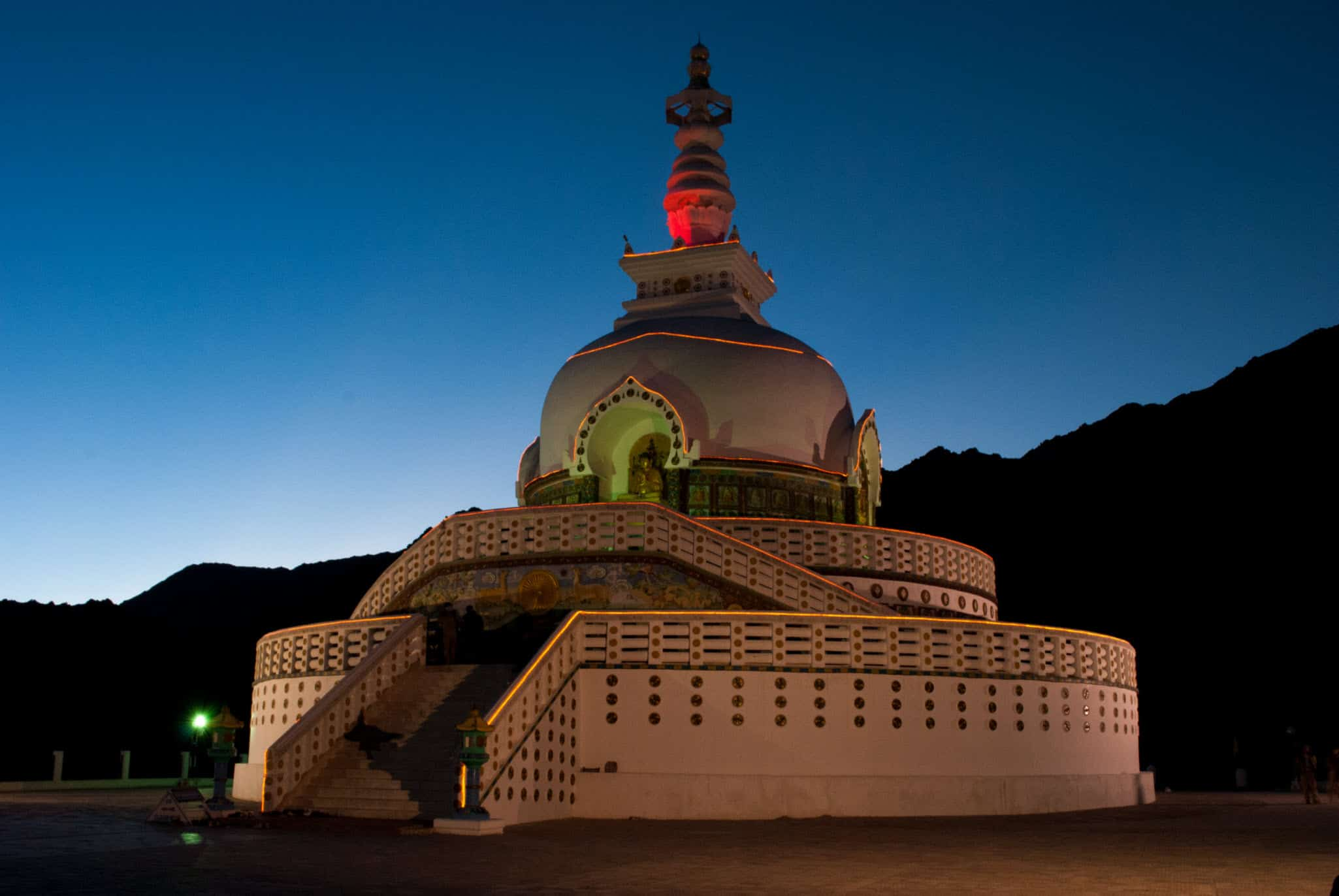 Shanti Stupa - Glittering in the evening