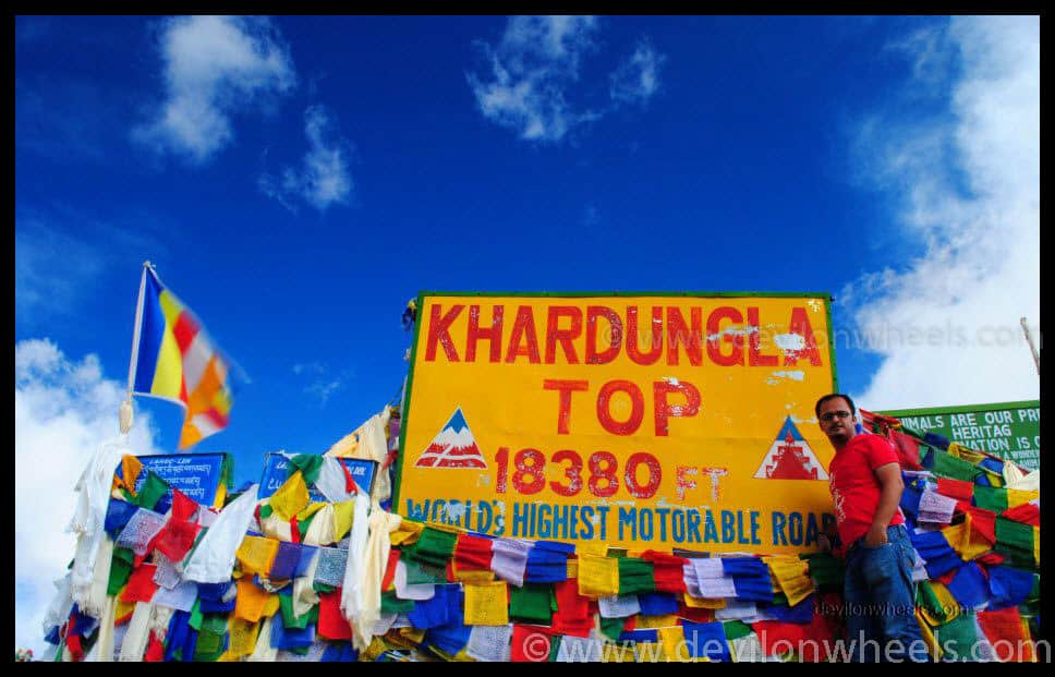 Dheeraj Sharma at Khardung La Pass - Top 13 Highest Motorable Passes or Roads in the world