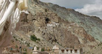 Phugtal Monastery, the first views from the trek