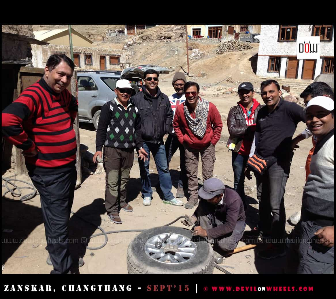 Rare moment when you smile over a puncture on Ladakh trip