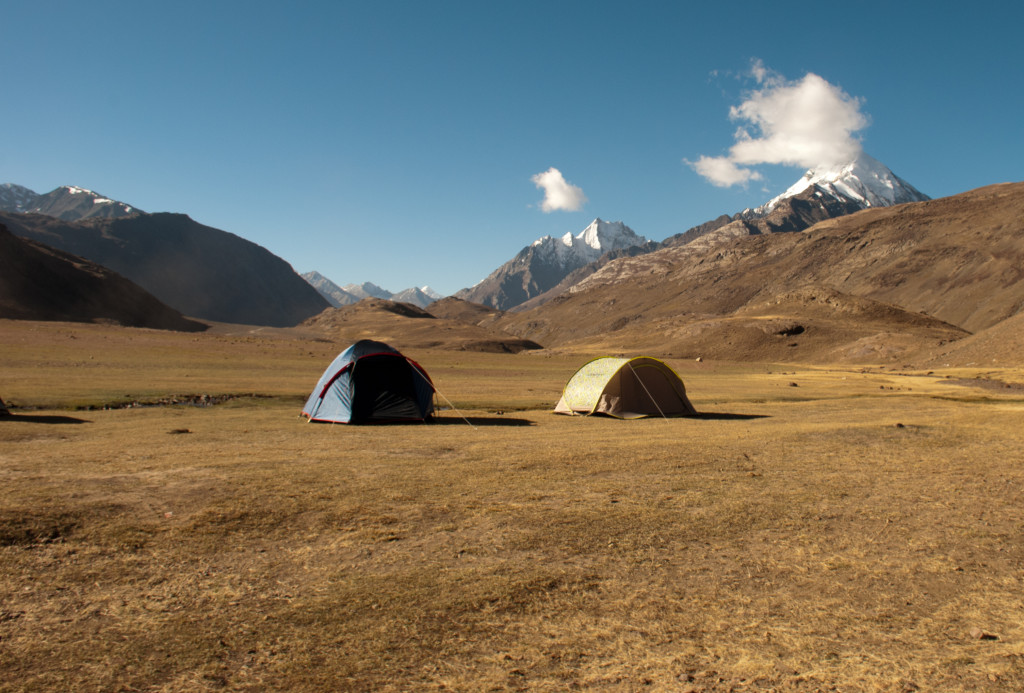 Camps near Chandratal at a designated site
