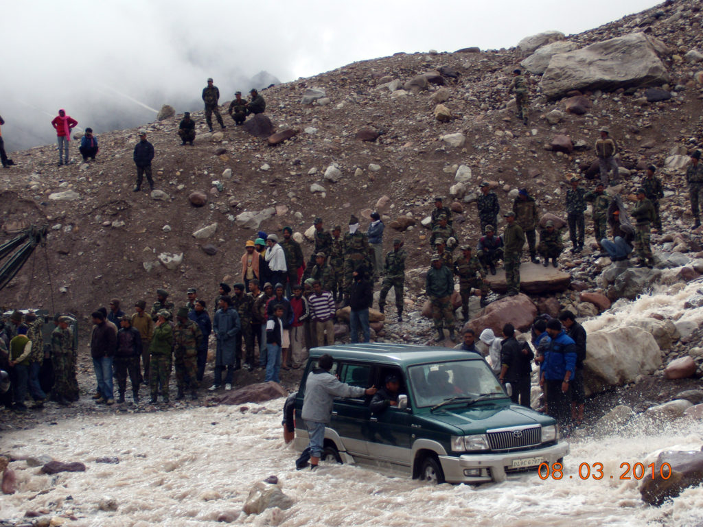 Furious water crossing on a Ladakh Trip