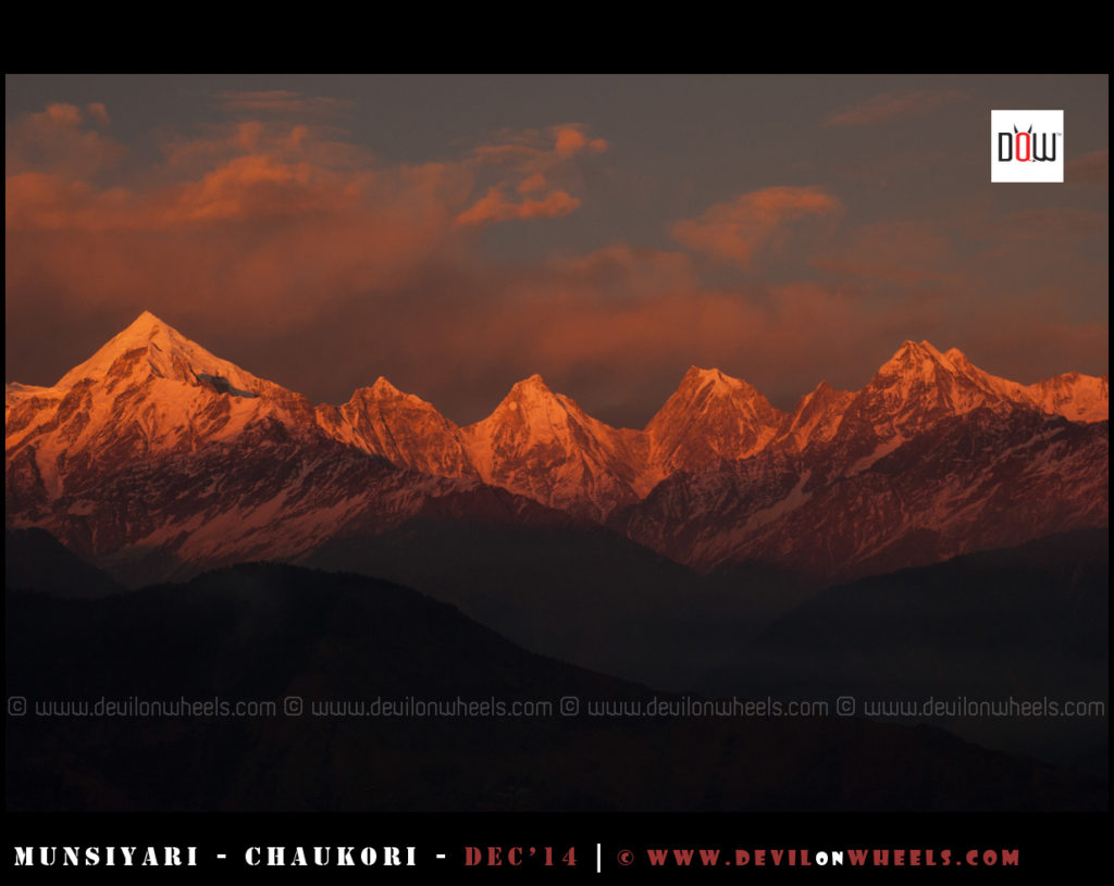 Sunset at Panchchuli Peaks from Munsiyari