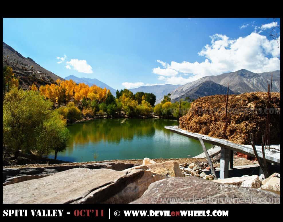 Beautiful Colors of Nako Lake in Fall in Kinnaur Valley