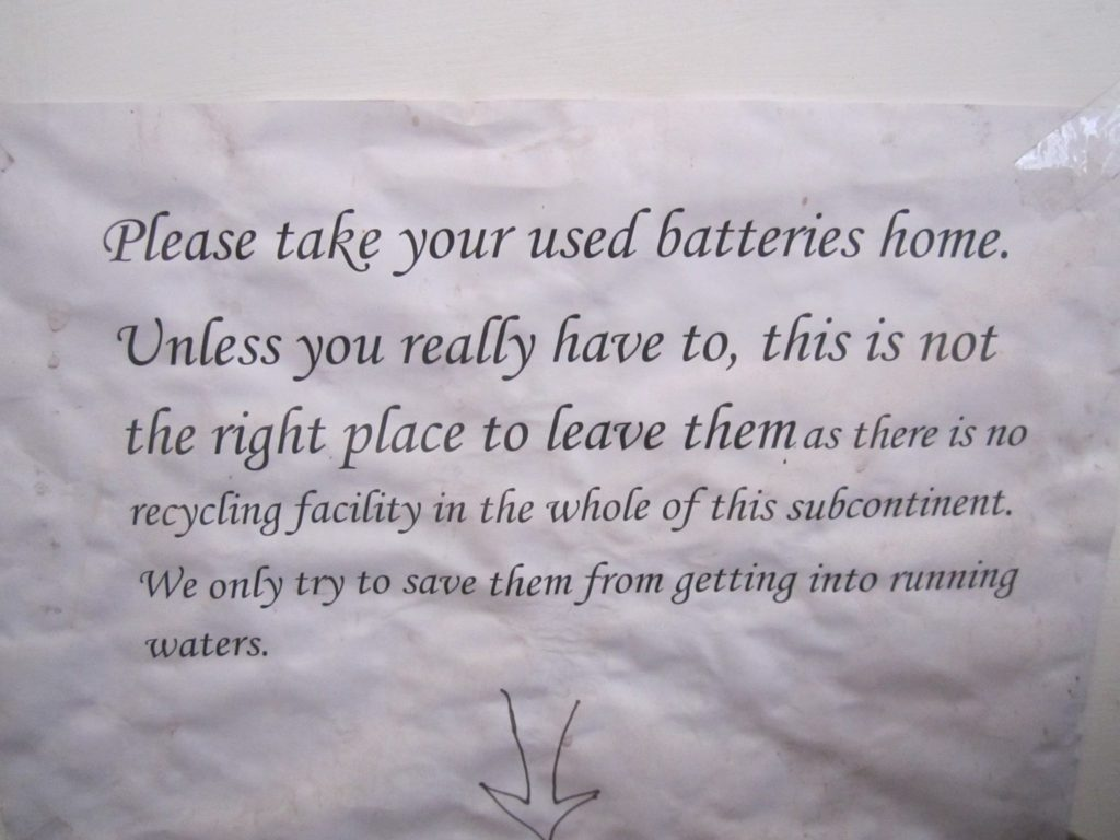 "The ""take your batteries home"" request sign"