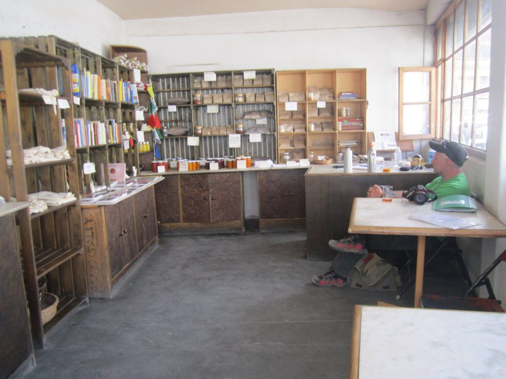 The inside of a Dzomsa shop, where you can easily spend a lazy hour or two, sipping freshly made sea buck thorn/ apricot juice. Its also a great place to sell your books and pickup some new ones, left by other travelers.