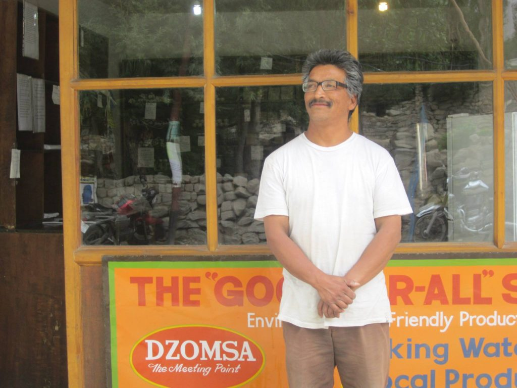 "Meet Sonam, whose initiative, Dzomsa (means the meeting point in Ladakhi, popularly known as the water refilling store) introduced me to the sustainable lifestyle thought process. Most of this draft is inspired from his self written Dzomsa manual. I look upto him when ever i feel the world is not doing enough to protect the planet.   Currently there are two Dzomsas in Leh. These are ""good for all"" shops and provide a number of environment friendly products and services, which i would explain in the coming photos."