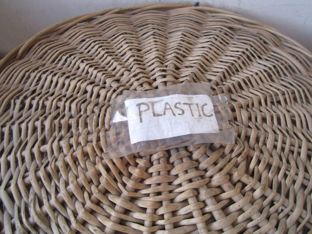 All baskets are marked for careful segregation of waste.
