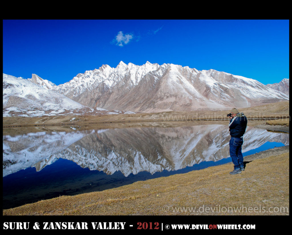 Shooting the magical reflections of twins lakes at Pensi La in Suru Valley
