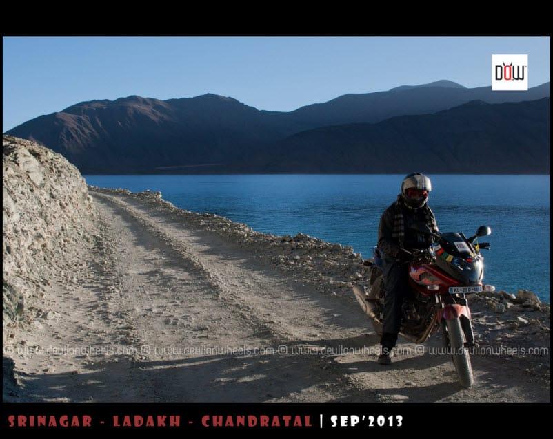 Bike ride along the shores of Pangong Tso