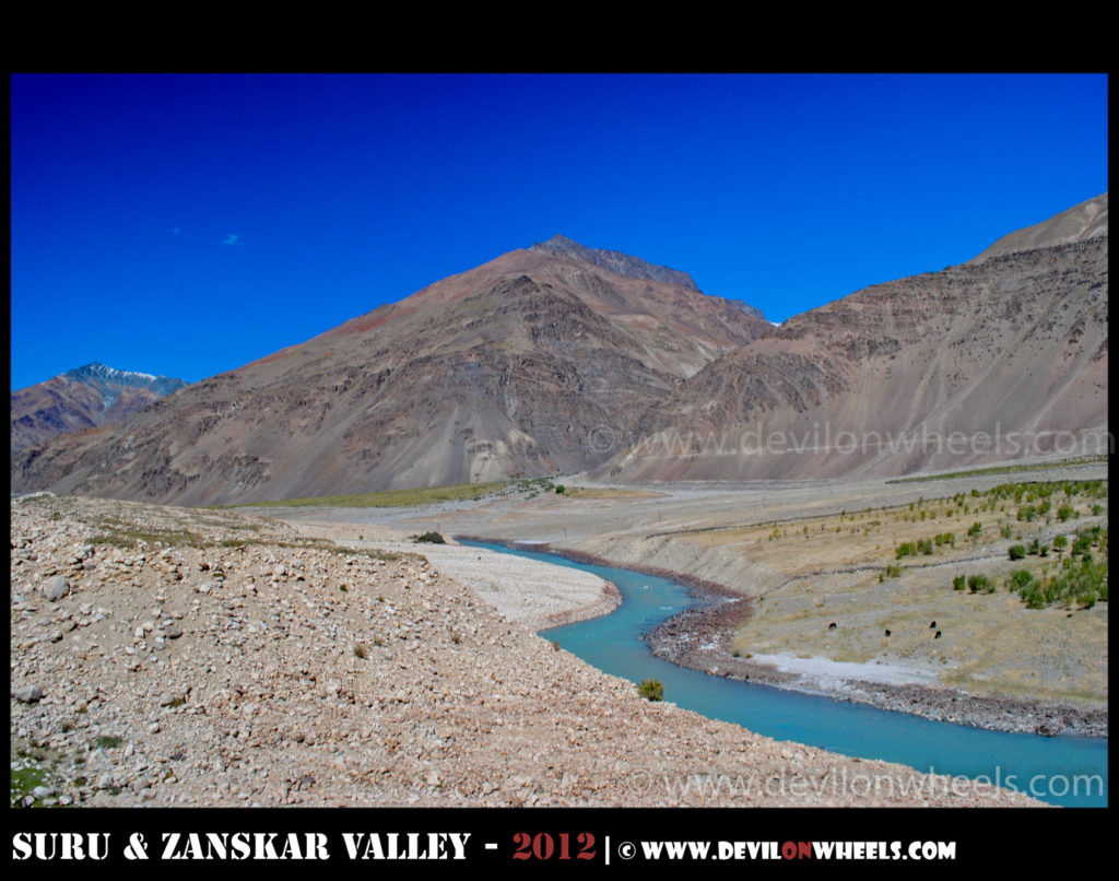 Zanskar River, curving its way through Zanskar Valley