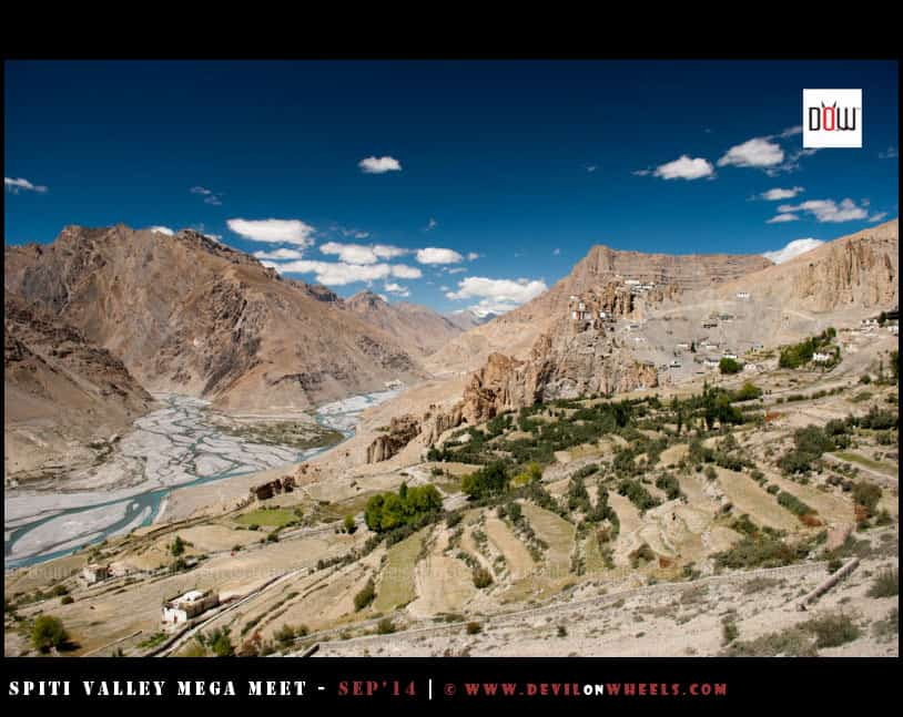 That aerial view of Dhangkar Monastery and Confluence of Pin - Spiti River