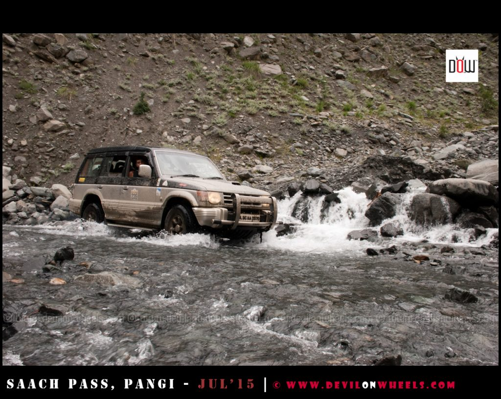 Passing a water crossing on the Sach Pass trip
