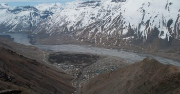 An aerial view of Kaza on an overcast day