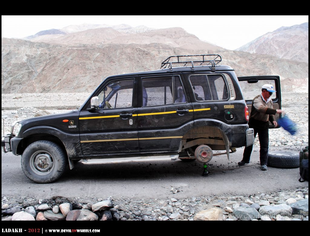 Time to repair the puncture in Ladakh