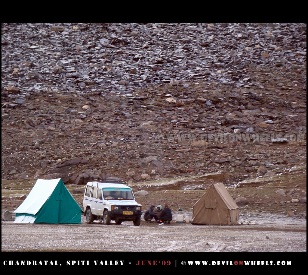 Camping at Manali Kaza Road, after getting stuck