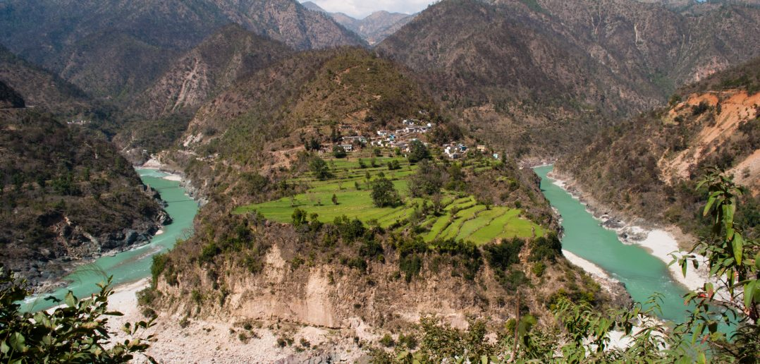 Alaknanda River, curving its way through the Himalayas