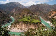 Alaknanda River, curving its way through the Himalayas