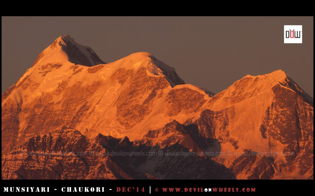 The golden glow at Trishul Peak as seen from Gwaldam