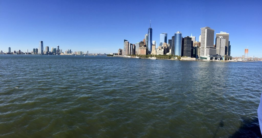 A Panoramic view of NYC Downtown Skyline