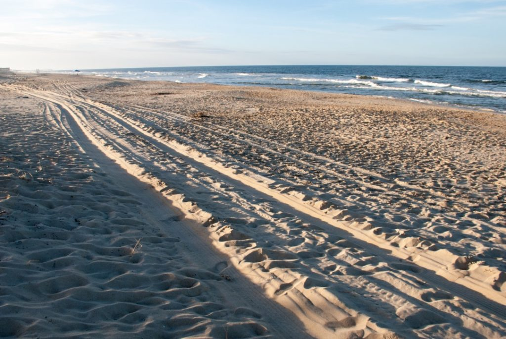 The jeep tracks on the beach of Outer Banks