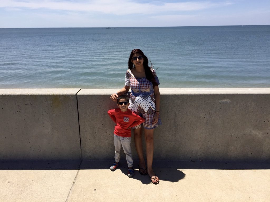 Wifey and Kiddo, still having fun after a long drive to Atlantic Ocean as seen from an overlook at Chesapeake bay bridge tunnel