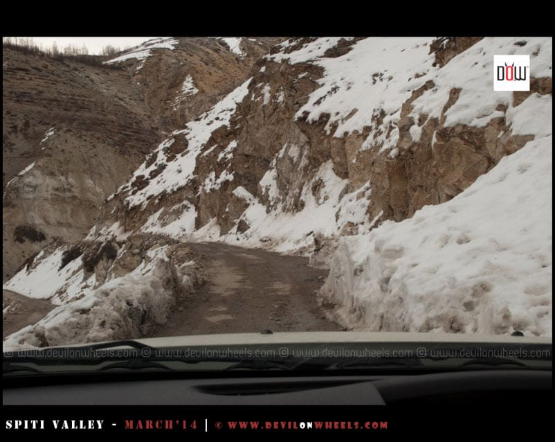 Snowy roads of Kinnaur Valley in Winters