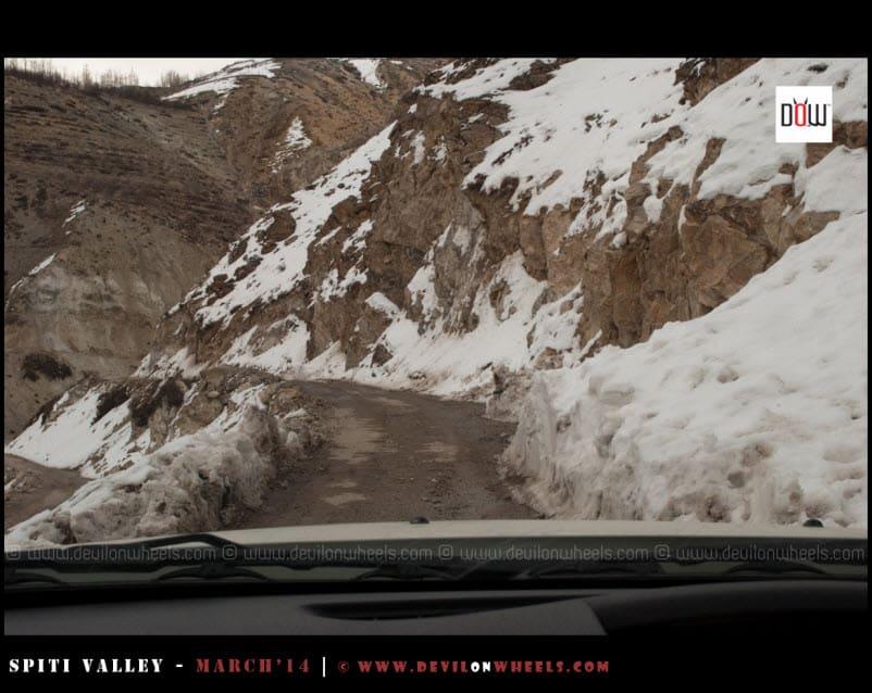 Snowy roads of Kinnaur Valley in Winters