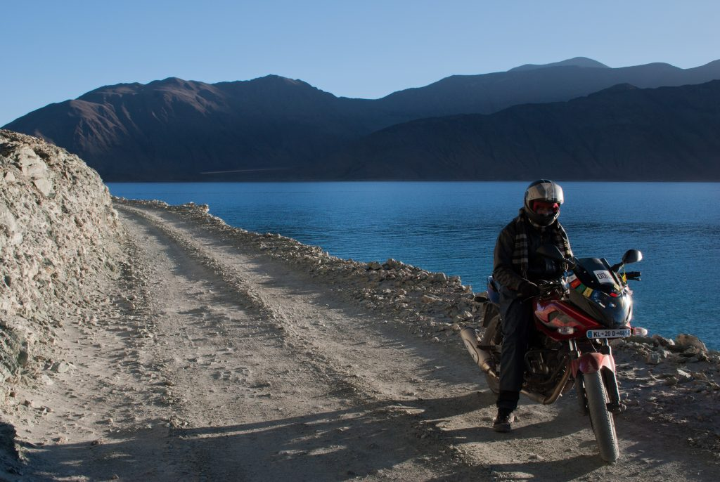 Bike ride on the shores of Pangong Tso