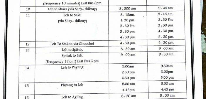 Public Transport in Leh Started – Bus Timetable