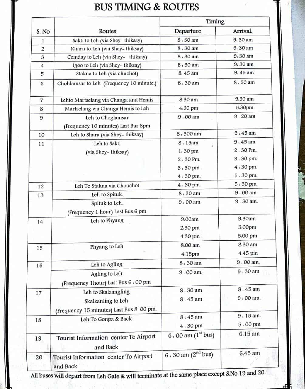 Public Transport in Leh - Bus Timetable