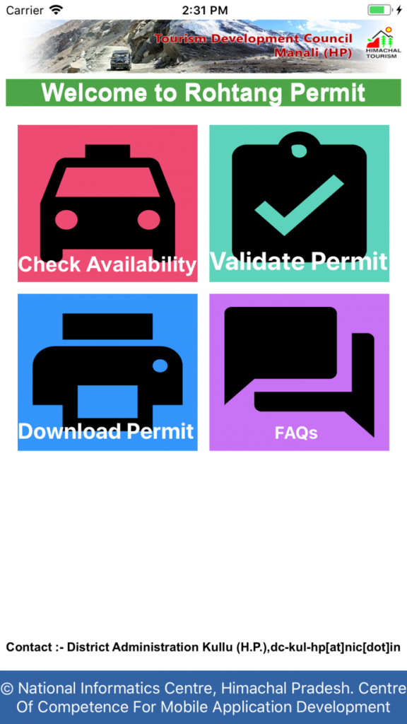 Rohtang Pass Permit Mobile App
