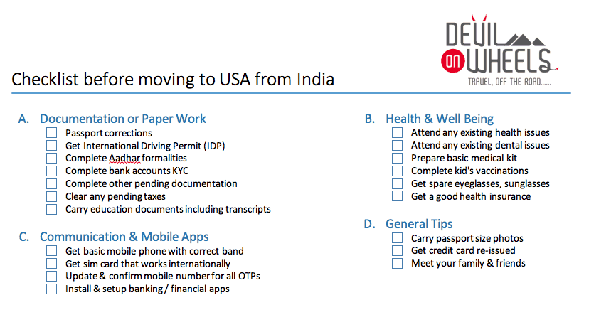 Checklist - Things to do before you move to USA from India