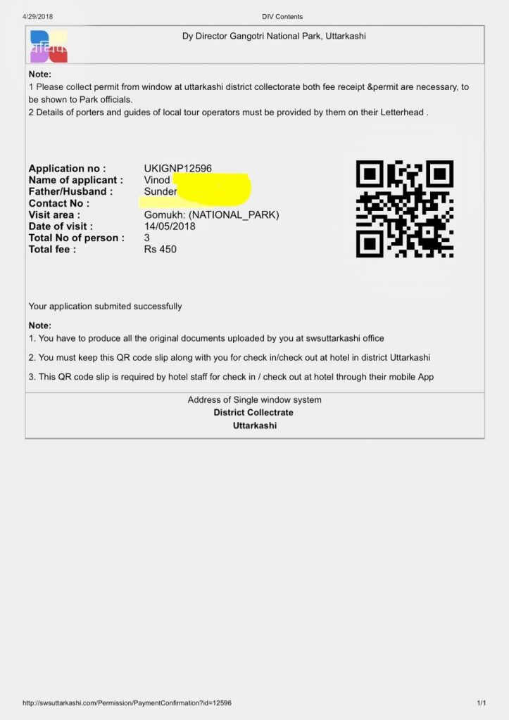 Online Permit Copy for our Gaumukh Travel Guide