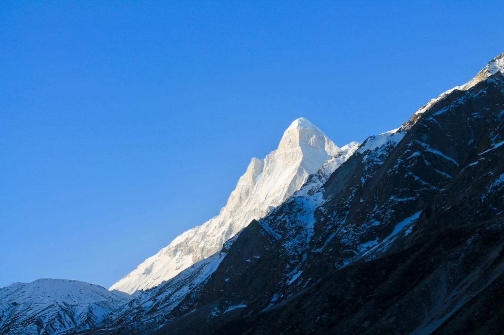 A side view of Mt Shivling