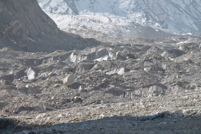 A close-up view of the Gaumukh glacier