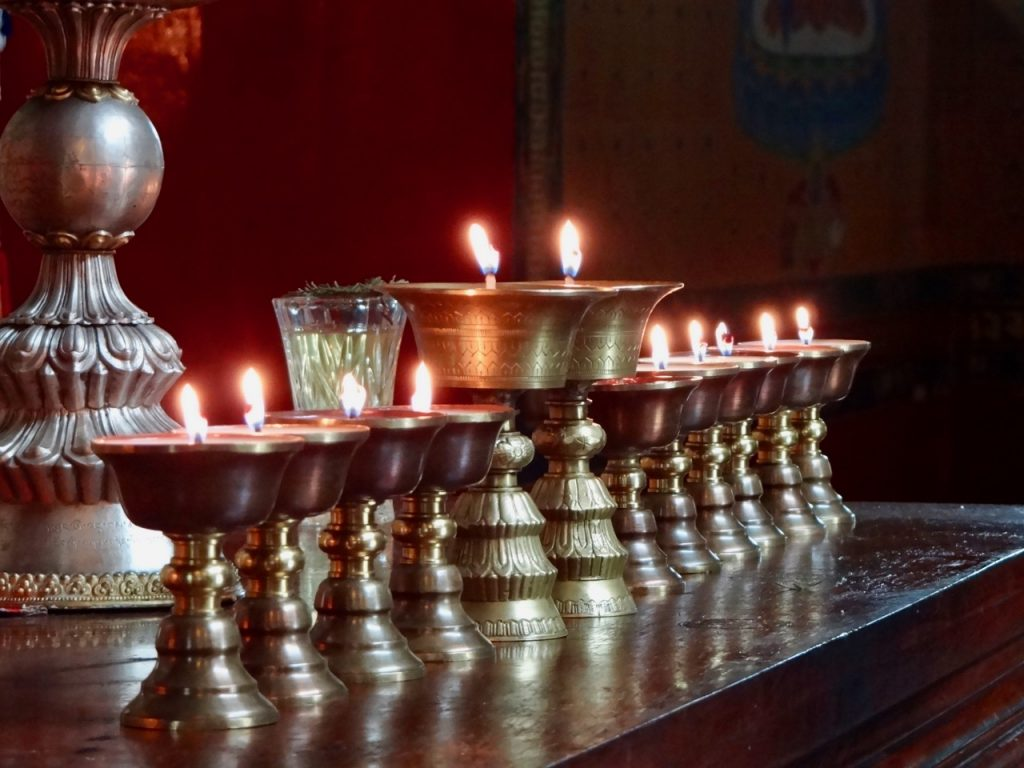 Lighting of butter lamps is an integral part of Buddhist rituals