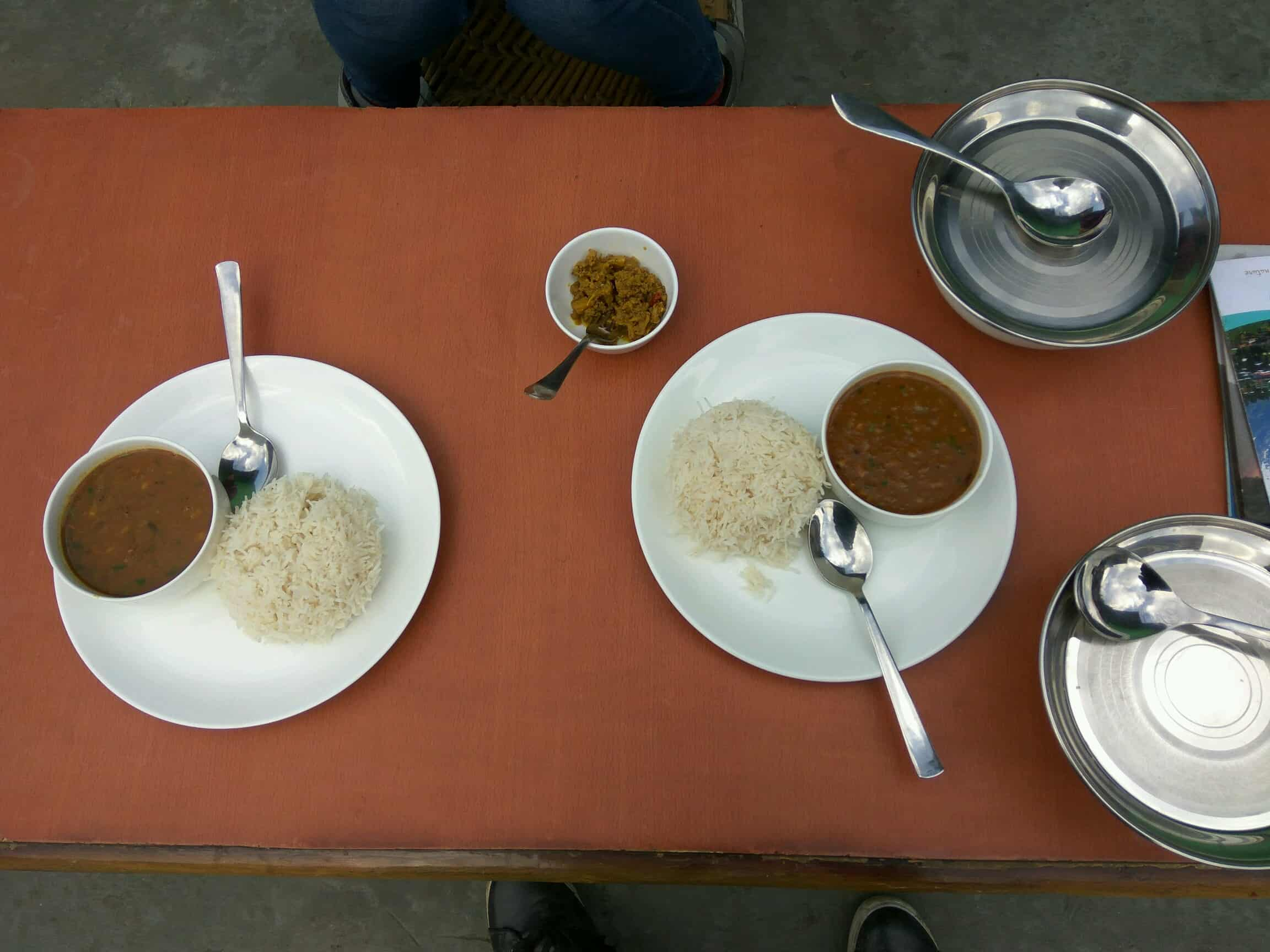Local lunch of Rajma Rice