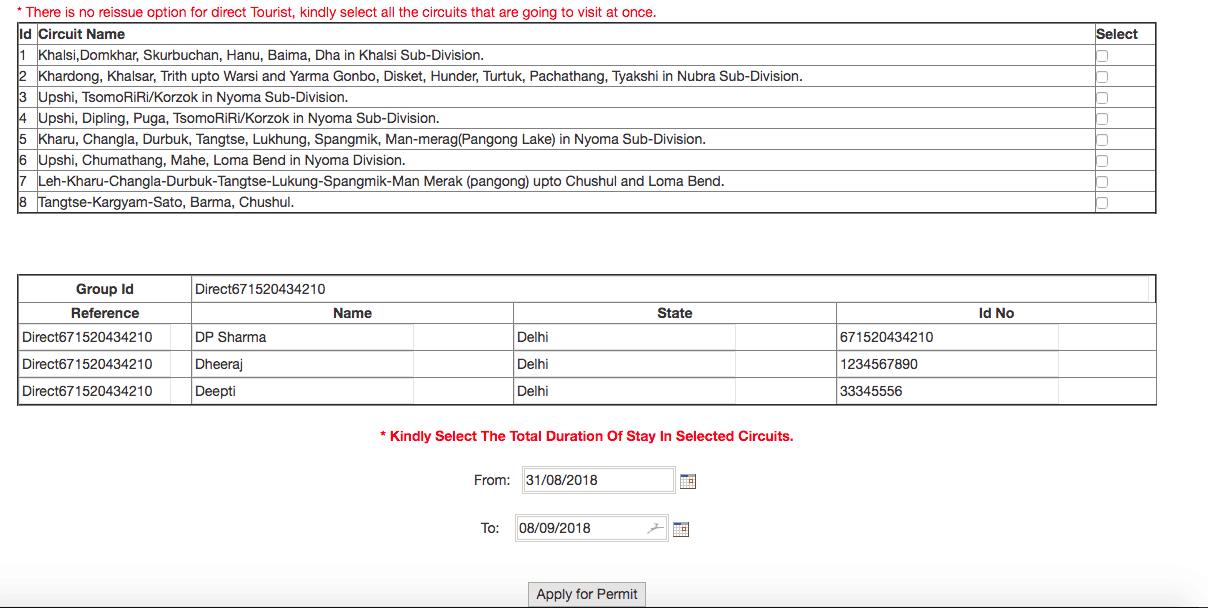 Step 2 - Ladakh Inner Line Permit Online Application