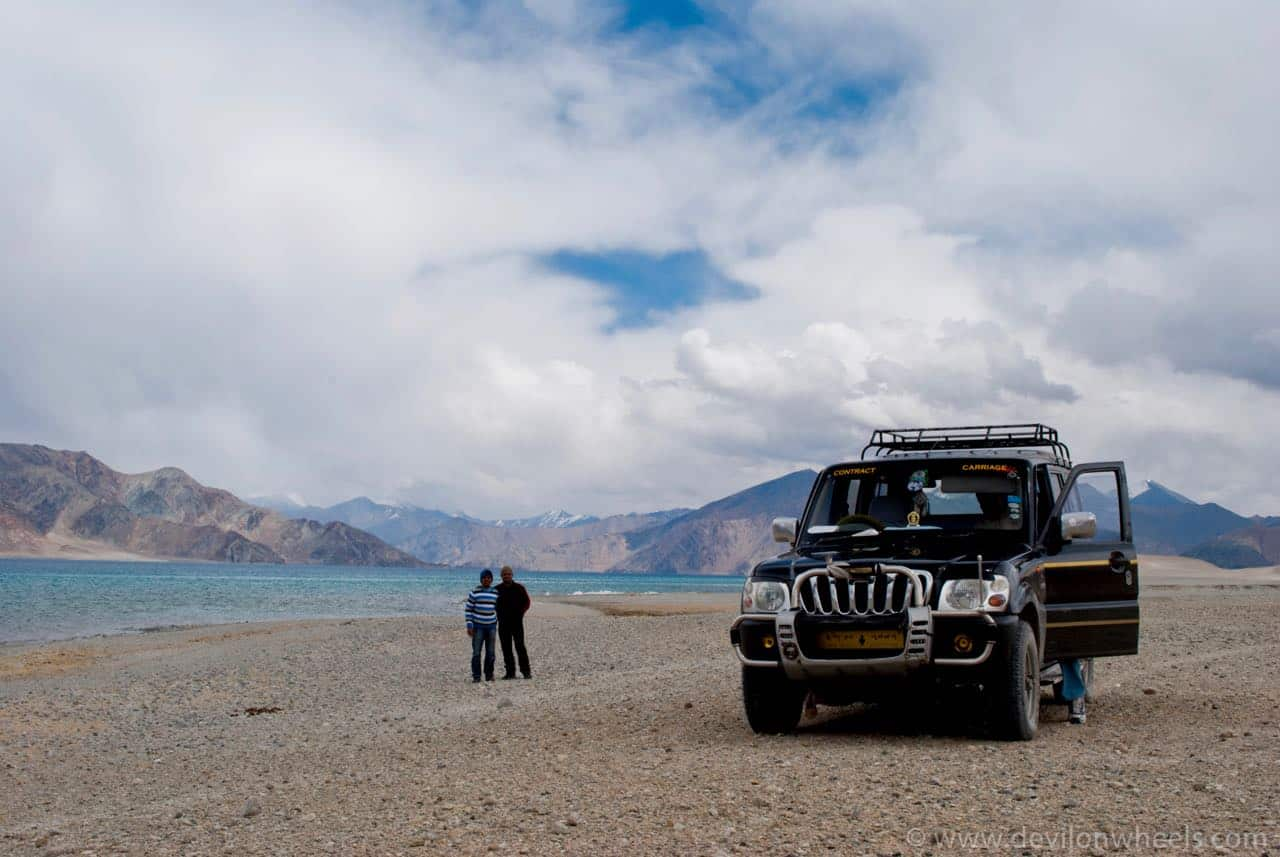 Time to pose at Pangong Tso lake